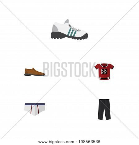 Flat Icon Clothes Set Of Male Footware, Underclothes, Pants And Other Vector Objects