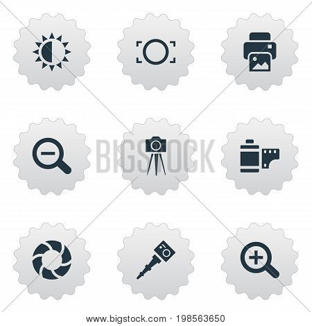 Elements Movable Camcorder, Camcorder, Brilliance And Other Synonyms Photographing, Zoom And Rustication.  Vector Illustration Set Of Simple Photography Icons.