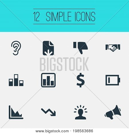 Elements Charge, Descending Sales, Deal And Other Synonyms Dollar, Deafness And Agreement.  Vector Illustration Set Of Simple Crisis Icons.