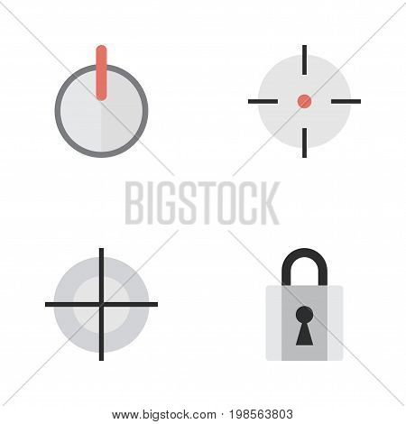Elements Target, Safe, Sniper And Other Synonyms Goal, Password And Shot.  Vector Illustration Set Of Simple Offense Icons.