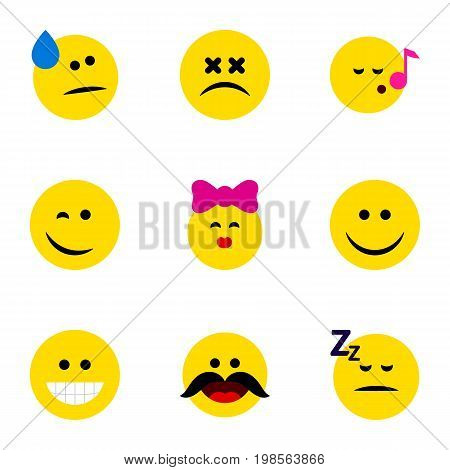 Flat Icon Emoji Set Of Cheerful, Asleep, Caress And Other Vector Objects