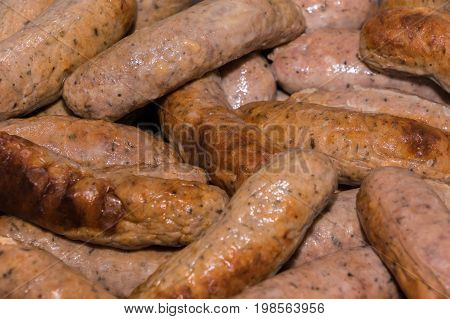 Lots of Cumberland pre cooked sausages background