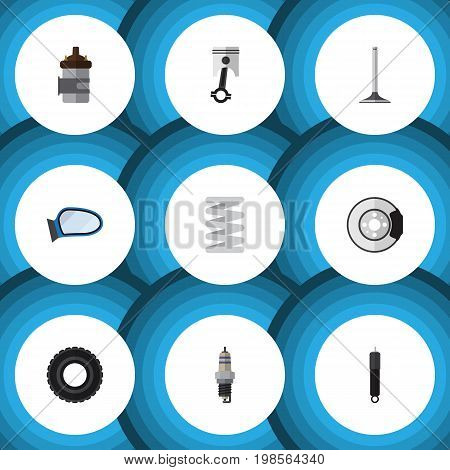 Flat Icon Parts Set Of Metal, Car Segment, Combustion And Other Vector Objects