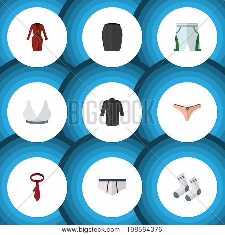 Flat Icon Garment Set Of Trunks Cloth, Stylish Apparel, Uniform And Other Vector Objects