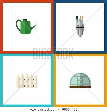 Flat Icon Garden Set Of Wooden Barrier, Bailer, Hothouse And Other Vector Objects