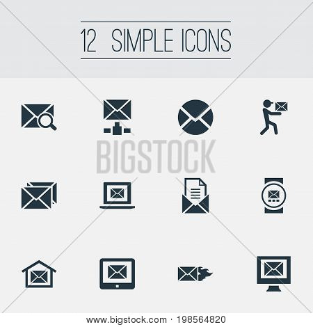 Elements Pages, Mailman, Sending And Other Synonyms Burn, Symbol And Tablet.  Vector Illustration Set Of Simple Mail Icons.