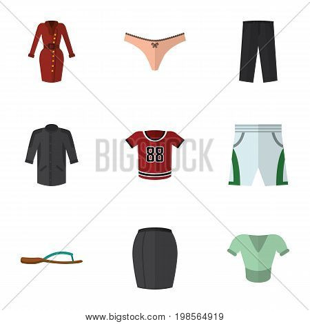 Flat Icon Dress Set Of Clothes, Beach Sandal, T-Shirt Vector Objects