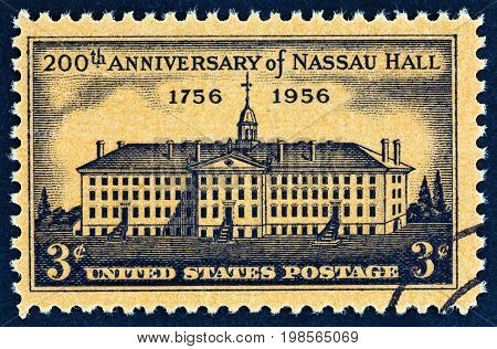 USA - CIRCA 1956: A stamp printed in USA issued for the bicentenary of Nassau Hall shows Nassau Hall,  Princeton University (contemporary engraving by Henry Dawkins), circa 1956.