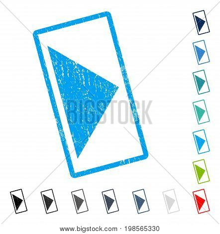 Arrowhead Right rubber watermark in some color versions.. Vector icon symbol inside rounded rectangle with grunge design and dust texture. Stamp seal illustration, unclean sign.