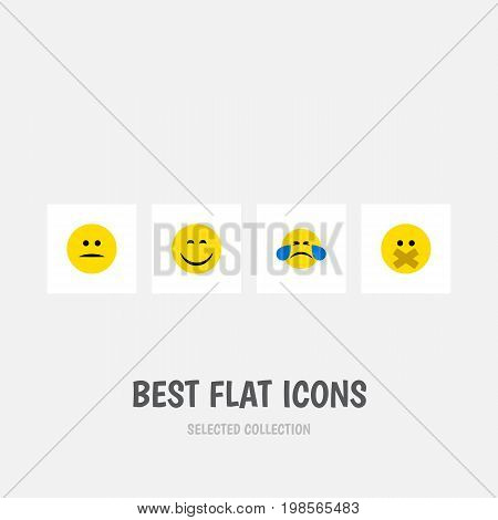 Flat Icon Emoji Set Of Hush, Smile, Cold Sweat And Other Vector Objects