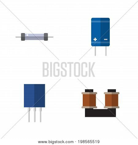 Flat Icon Appliance Set Of Receptacle, Coil Copper, Transistor And Other Vector Objects
