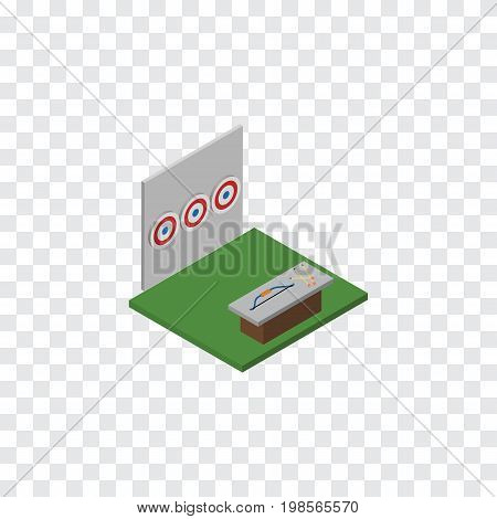 Aiming Game Vector Element Can Be Used For Archery, Aiming, Game Design Concept.  Isolated Archery Isometric.