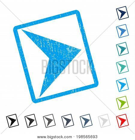 Arrowhead Right rubber watermark in some color versions.. Vector pictogram symbol inside rounded rectangular frame with grunge design and dirty texture. Stamp seal illustration, unclean emblem.
