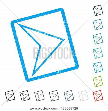 Arrowhead Right rubber watermark in some color versions.. Vector pictogram symbol inside rounded rectangular frame with grunge design and dirty texture. Stamp seal illustration, unclean sticker.