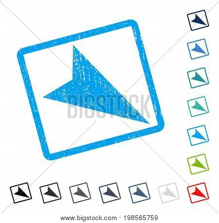 Arrowhead Right-Down rubber watermark in some color versions.. Vector pictogram symbol inside rounded rectangular frame with grunge design and dust texture. Stamp seal illustration, unclean sign.