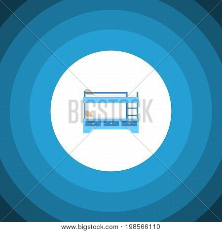 Bunk Bed Vector Element Can Be Used For Hostel, Bunk, Bed Design Concept.  Isolated Hostel Flat Icon.
