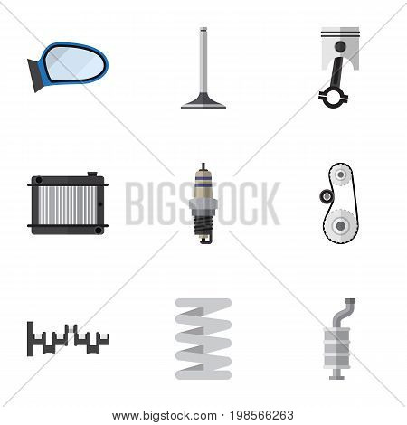 Flat Icon Auto Set Of Car Segment, Crankshaft, Steels Shafts And Other Vector Objects