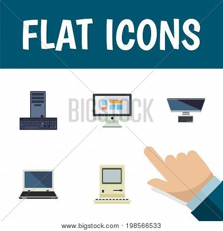 Flat Icon Computer Set Of Computing, PC, Processor And Other Vector Objects