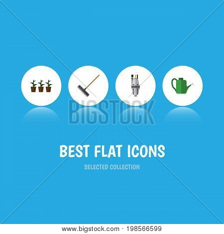 Flat Icon Garden Set Of Harrow, Pump, Bailer And Other Vector Objects