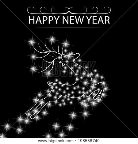 New Year s, Christmas card. An abstract silhouette of a deer among the stars. Vector illustration