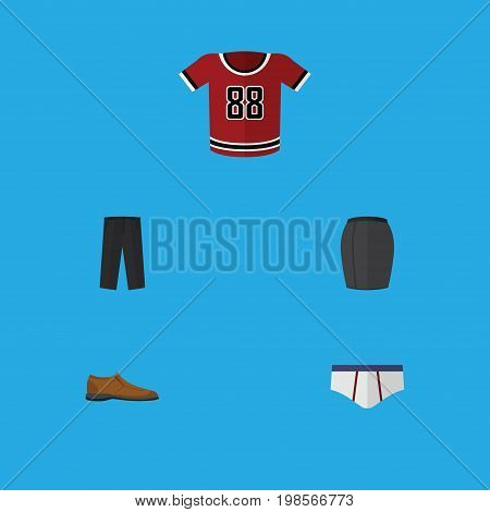 Flat Icon Dress Set Of T-Shirt, Underclothes, Male Footware And Other Vector Objects