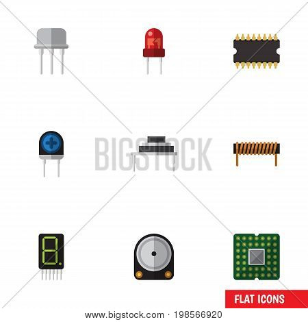 Flat Icon Electronics Set Of Resist, Recipient, Transducer And Other Vector Objects