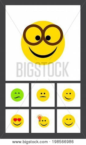 Flat Icon Expression Set Of Pleasant, Have An Good Opinion, Frown And Other Vector Objects