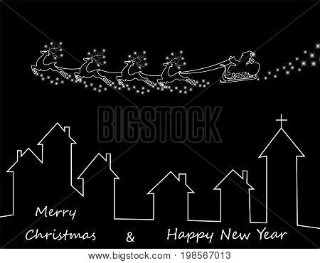 New Years, Christmas card. Abstract silhouette of deer of Santa Claus over houses. Vector illustration