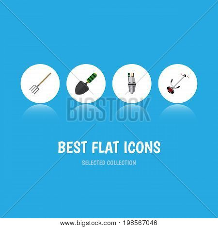 Flat Icon Dacha Set Of Pump, Hay Fork, Trowel And Other Vector Objects