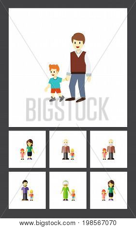 Flat Icon Relatives Set Of Son, Boys, Grandson Vector Objects