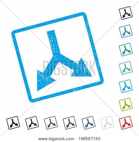 Bifurcation Arrow Down rubber watermark in some color versions.. Vector icon symbol inside rounded rectangle with grunge design and scratched texture. Stamp seal illustration, unclean sign.