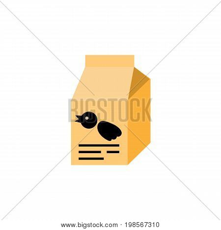 Nutrition Box Vector Element Can Be Used For Bird, Food, Box Design Concept.  Isolated Sparrow Meal Flat Icon.