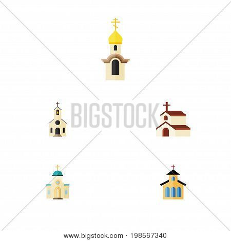 Flat Icon Christian Set Of Religion, Building, Catholic And Other Vector Objects