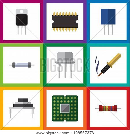 Flat Icon Technology Set Of Receptacle, Resist, Resistance And Other Vector Objects