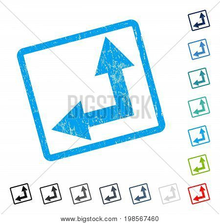 Bifurcation Arrow Left Up rubber watermark in some color versions.. Vector icon symbol inside rounded rectangle with grunge design and dirty texture. Stamp seal illustration, unclean sign.