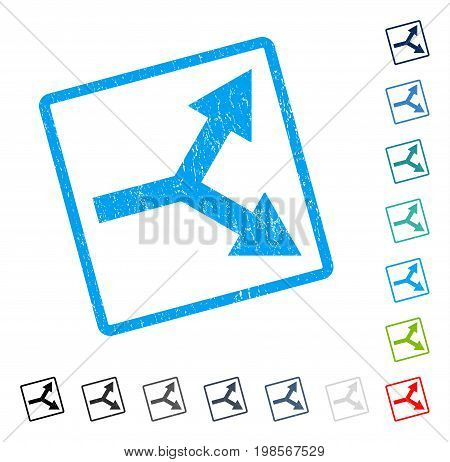 Bifurcation Arrow Right rubber watermark in some color versions.. Vector icon symbol inside rounded rectangular frame with grunge design and dust texture. Stamp seal illustration, unclean emblem.