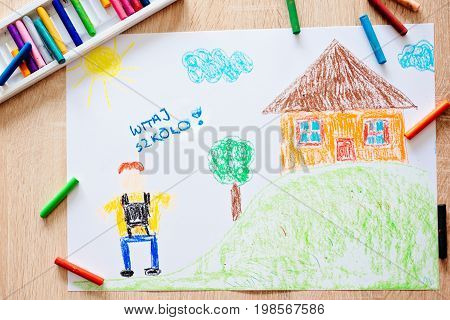 Childs Pastel Drawing Of Boy Going To School.