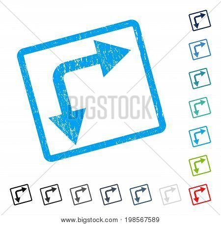 Bifurcation Arrow Right Down rubber watermark in some color versions.. Vector icon symbol inside rounded rectangle with grunge design and scratched texture. Stamp seal illustration, unclean sign.
