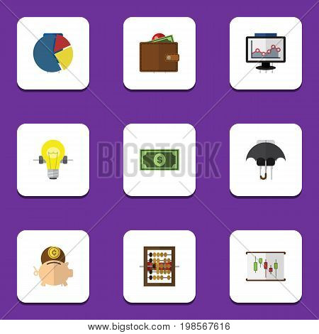 Flat Icon Gain Set Of Greenback, Bubl, Graph And Other Vector Objects