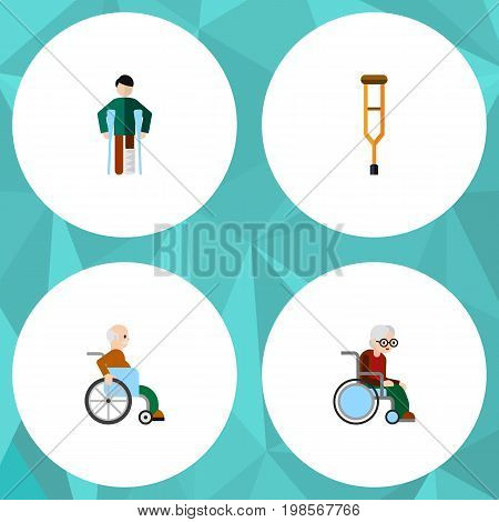 Flat Icon Cripple Set Of Wheelchair, Injured, Stand Vector Objects