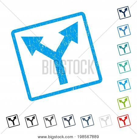 Bifurcation Arrow Up rubber watermark in some color versions.. Vector icon symbol inside rounded rectangle with grunge design and unclean texture. Stamp seal illustration, unclean emblem.