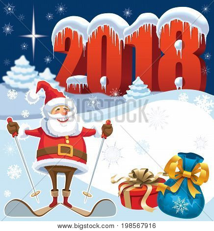 Skiing Santa Claus in New Year 2018 with gifts and christmas decoration