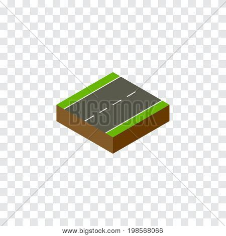 Driveway Vector Element Can Be Used For Driveway, Single, Lane Design Concept.  Isolated Single-Lane Isometric.