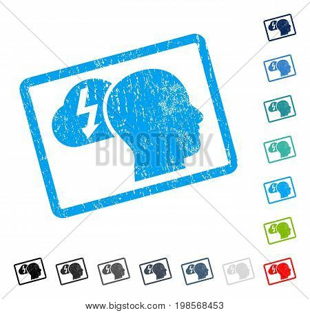 Brainstorming rubber watermark in some color versions.. Vector icon symbol inside rounded rectangle with grunge design and dirty texture. Stamp seal illustration, unclean emblem.