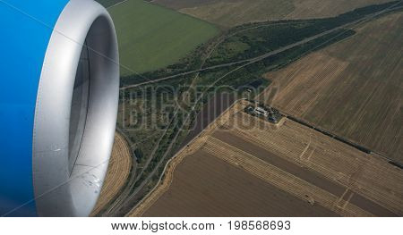 jet engine and earth fields, russian territory