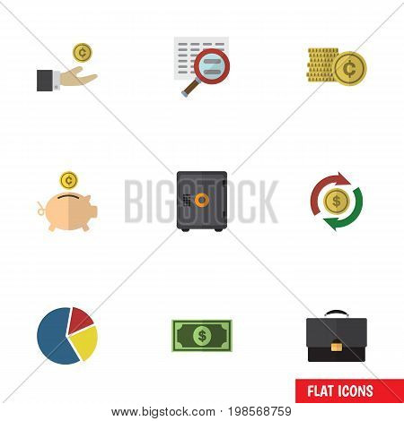Flat Icon Incoming Set Of Cash, Money Box, Greenback And Other Vector Objects