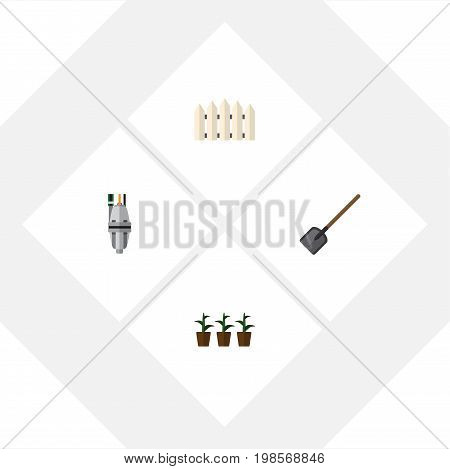 Flat Icon Farm Set Of Pump, Flowerpot, Shovel And Other Vector Objects