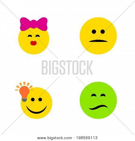 Flat Icon Expression Set Of Caress, Displeased, Frown And Other Vector Objects