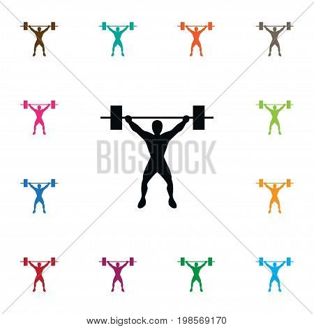 Muscle Vector Element Can Be Used For Weightlifting, Muscle, Sportsman Design Concept.  Isolated Weightlifting Icon.