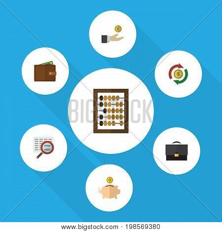 Flat Icon Gain Set Of Money Box, Billfold, Portfolio And Other Vector Objects